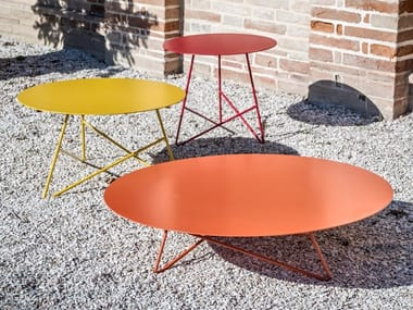Tavolino da giardino rotondo in metallo ERMIONE | Tavolino da giardino