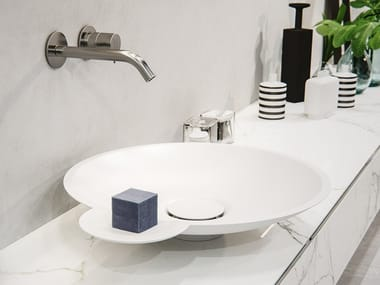 Countertop round Meridian Solid Surface® washbasin EROSION-01