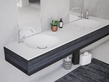 Double round washbasin with integrated countertop EROSION-02 DUAL