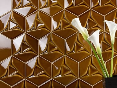 Indoor double-fired ceramic 3D Wall Tile SPACE CONCEPT - HEXAGON