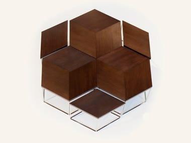 Hexagonal walnut coffee table ESAGONO