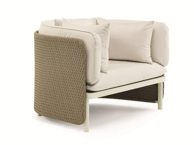 Upholstered fabric garden armchair ESEDRA | Garden armchair