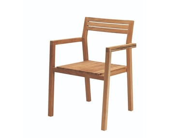 Stackable teak garden chair ESSENZA | Chair with armrests