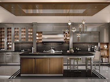 Lacquered custom wooden kitchen with island ESSENZA | Numero5