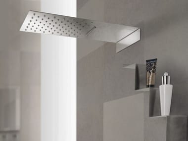 Wall-mounted 2-spray stainless steel overhead shower with chromotherapy ESTANTE | Overhead shower