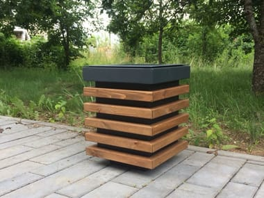 Outdoor steel and wood litter bin ESTET | Litter bin
