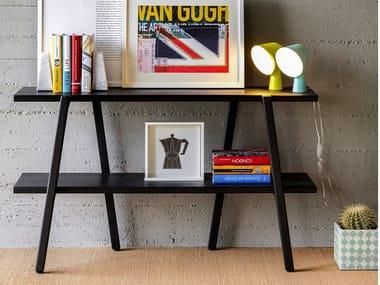 Open freestanding wooden bookcase ETAN