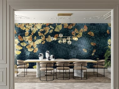 Gold leaf wallpaper with floral pattern ETERNAL YOUTH