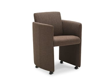 Upholstered chair with armrests with castors ETERNITY