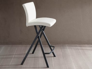 High upholstered leather stool ETIENNE
