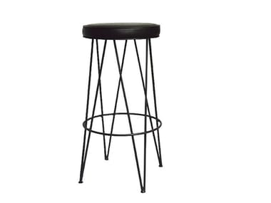 Leather stool with footrest ETNICK