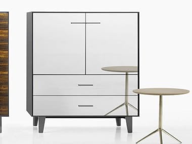 Contemporary style glass highboard with doors with drawers EUCALIPTO | Mirrored glass highboard