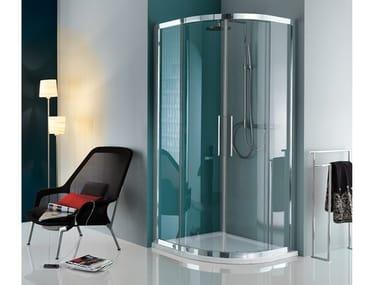 Cabine de douche d'angle semi-circulaire à portes coulissantes EUROPA | Cabine de douche d'angle