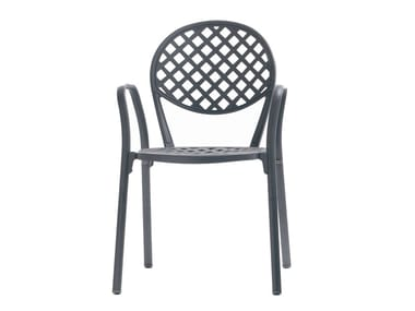 Stackable aluminium garden chair with armrests EUROPA