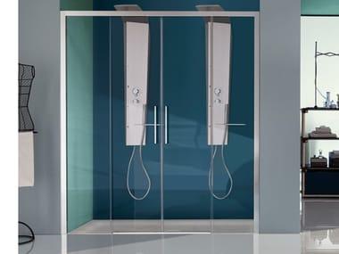 Box doccia a nicchia con porta scorrevole a quattro ante EUROPA SP | Box doccia