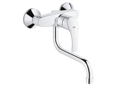 2 hole kitchen mixer tap with swivel spout with temperature limiter EUROSMART | Wall-mounted kitchen mixer tap