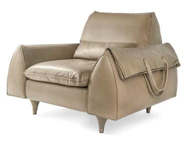 Upholstered leather armchair with armrests EVE BAG | Armchair