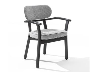 Chair with armrests in solid ash and fabric EVELIN | Chair with armrests
