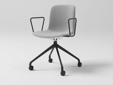 Swivel fabric office chair with 4-Spoke base with castors EVERY   Office chair with armrests