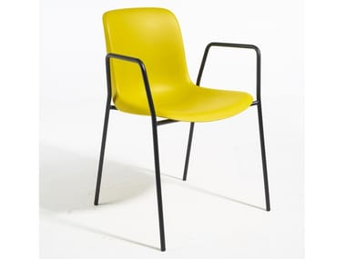 Polypropylene chair with armrests and base in steel EVERY | Steel chair