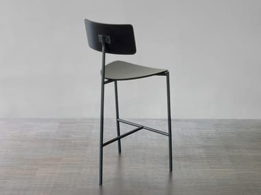 Steel and wood stool EXISTENTIALISTE | Stool