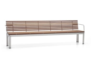 Wooden garden bench with armrests EXTEMPORE | Garden bench with armrests