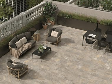 Porcelain stoneware outdoor floor tiles with stone effect EXTERNA QUARZITE GOLD GREY
