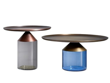Round blown glass coffee table for living room EQUILIBRE