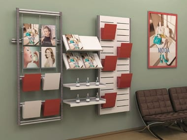 Wall-mounted aluminium retail display unit Display for products and brochures