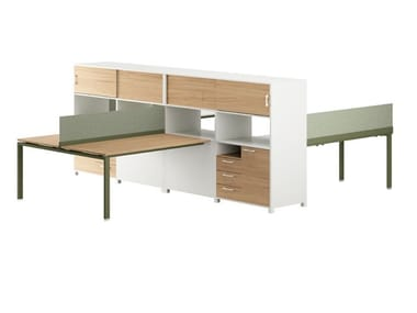 Office workstation with shelves FLOAT OFFICE | Office workstation with shelves