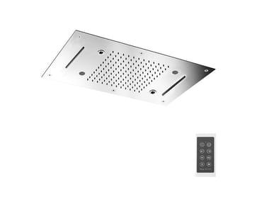 Soffione a soffitto in acciaio inox Harmonia con cromoterapia F2904