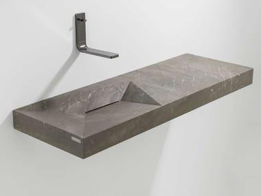 Lavabo rectangulaire suspendu en pierre naturelle avec plan intégré FACES | Lavabo avec plan intégré
