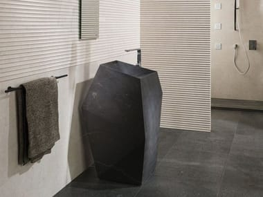 Lavabo sur pied en pierre naturelle FACES | Lavabo sur pied
