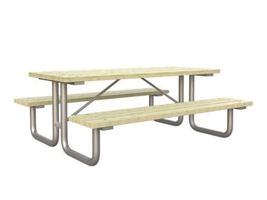 Tavolo da picnic rettangolare in pino con panchine integrate FAMILY