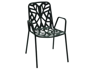 Stackable galvanized steel garden chair with armrests FANCY2