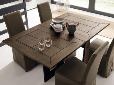 Extending rectangular solid wood console table FARFALLA