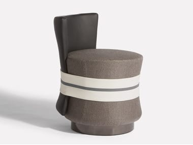 Upholstered leather and fabric chair FASCETTA | Chair