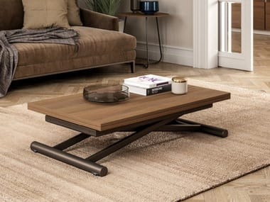 Height-adjustable extending eco wood coffee table FAST