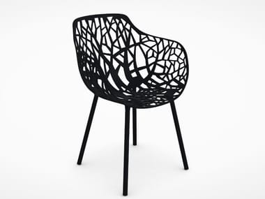 Aluminium garden chair with armrests FAST - FOREST Black