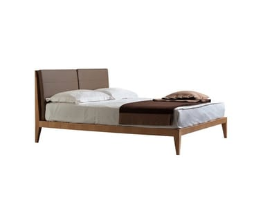 Cherry wood bed with upholstered headboard FELICE | Bed