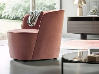 Upholstered fabric armchair FELIX