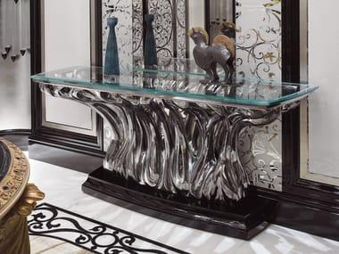 Consolle in legno finitura liquid-bronze piano in cristallo FICUS | Consolle