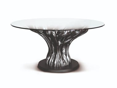 Tavolo in legno finitura nichel scuro e piano in cristallo FICUS | Tavolo rotondo
