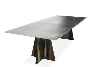 Tavolo in metallo con base in palissandro FIERRO