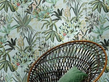 Wallpaper with floral pattern with textile effect FIGARI