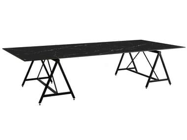Rectangular Sintered stone dining table FIL NOIR