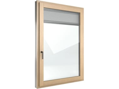 Aluminium and wood casement window with built-in blinds FIN-Ligna Nova-line Twin Aluminium-Wood
