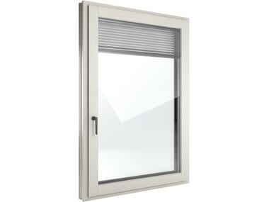 Aluminium and wood casement window with built-in blinds FIN-Ligna Slim-line Twin Aluminum-Wood