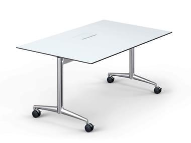 Folding rectangular meeting table with castors FINA FOLD