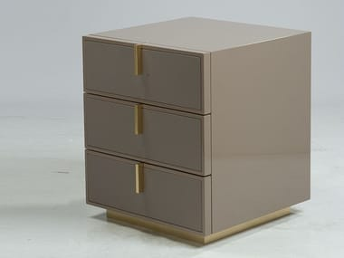 Lacquered MDF and cowhide bedside table with drawers FINE | Bedside table